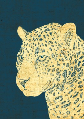 Leopard on Blue