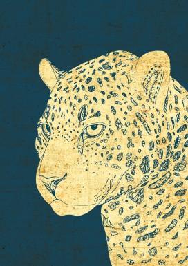 Leopard on Blue
