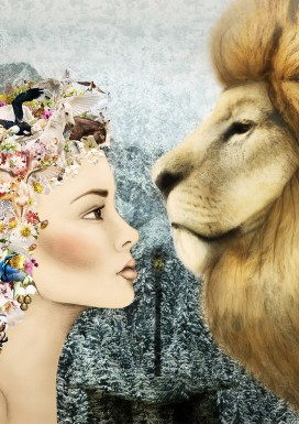 Lucy and Aslan Greeting Card